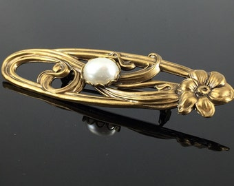 Art Nouveau Revival Pearl Bar Pin Brooch  - Vintage Floral Whip Lash Curve Antiqued Gold Brooch