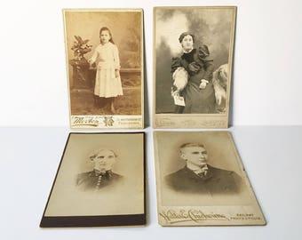 Cabinet cards lot of 4 Victorian photos Antique Photos Collectible ephemera New England