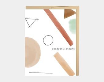 Congratulations Card, Cheers, Art Card, Congrats Card, Celebration card, Abstract Art, Proud of You, Beige Minimal Card, Graduation card