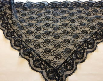 Vintage Chantilly Lace Scarf or Kerchief