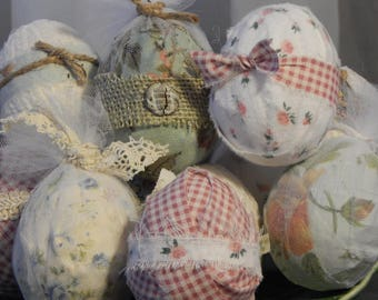 Shabby Chic Ragball Eggs for Spring, Set of 3