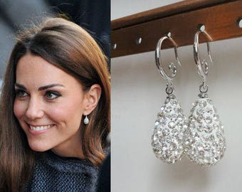 Kate Middleton Inspired Pave Crystal Silver Teardrop earrings