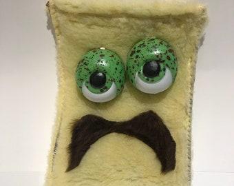 Handmade Fancy Mustachioed Monster Makeup & Whatsit Bag