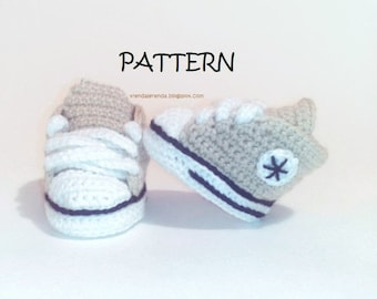 PATTERN. Crochet baby booties Converse All Star . Instant download PDF. Crochet baby sneakers.