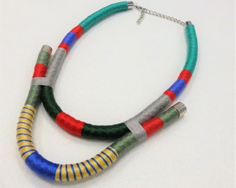 Beautiful handmade rope necklace, colorful necklace