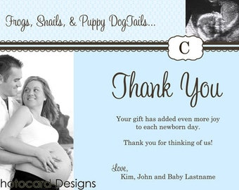 Baby Shower Puppy Dog Tail Thank You Photo Card   Digital   diy   Print file   Boy   Announcement   Thanks   Ultrasound   Picture