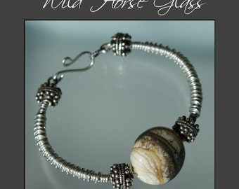 Painted Desert - Sterling Silver Wirework Bracelet with Handmade Lampwork Focal