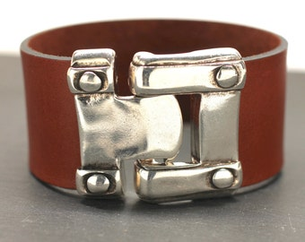 Wide Leather Bracelet Riveted Hook Bracelet Mens Bracelet Statement Bracelet Silver Cuff Gift For Dad Man Him Jewelry Under 50