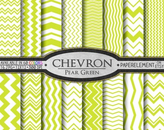 Pear Green Chevron Digital Paper Pack - Instant Download - Chevron Paper for Digital Scrapbooking