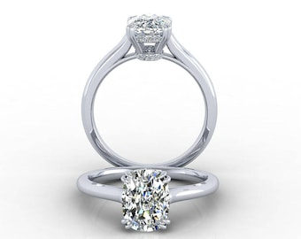 Classic Solitaire Sparkle Head, Engagement Ring Setting for an Oval Center Stone with Pavé-set  Diamonds Around the Basket