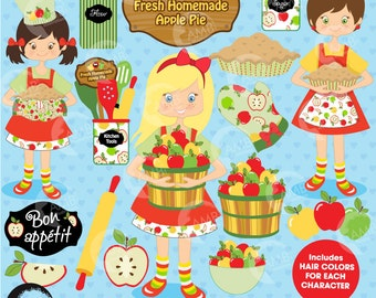Baking clipart, Apple picking clipart,  Apple clipart, Bake Sale Clipart, Chef Clipart, Apple Pie Clipart, Commercial Use, AMB-137