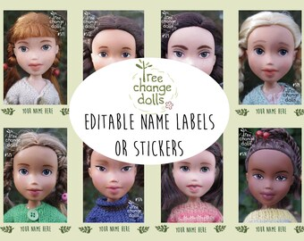 Tree Change Dolls® Editable Name Tags / Stickers Doll #571 to #578