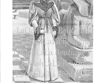 Victorian Madame at the Louvre 1893 Parisian Fashion Illustration Egyptian Sphinx Paris Art Ancient Egypt Woman Birthday Greeting Card Image