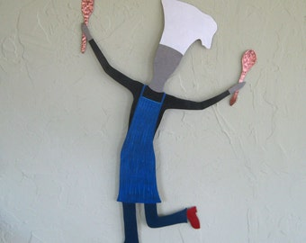 Kitchen Metal Wall Art Chef Cooking Decor Guy Chef Recycled Metal Kitchen Wall Decor Male Dancing Cooking Art 15 x 22