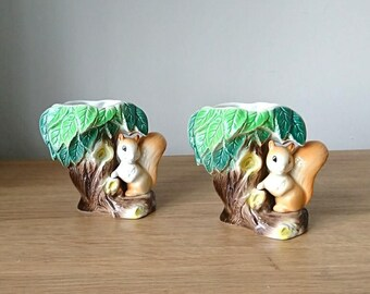 Vintage Vase Squirrel by a Tree Posy Vase pair x 2 Hornsea Fauna Royal Made in England No. 26 Kitsch Ceramic Collectable Earthenware Planter
