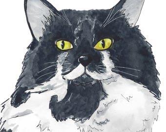 Tuxedo Cat - Watercolor Pet Portrait (PRINT)