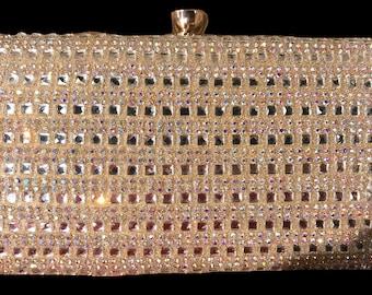 New  Gold With Iridescent Crystal & Rhinestone Hardshell  Clutch Handbag 7'' L x 5' H