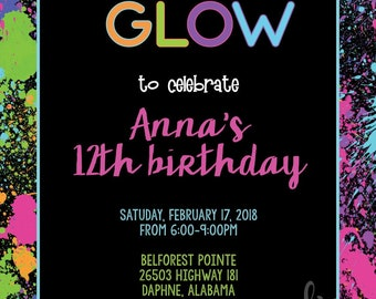 Paint Splatter Glow Party Invitation