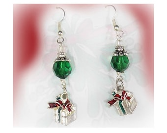 Green Christmas earrings - Holiday Dangle Earrings - green silver drop earrings -beaded Holiday earrings -Christmas beaded earrings, # J 21