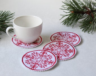Cup Coasters -Christmas Gift Idea -Christmas Table Decor -Embroidered Coasters -White Christmas -Holidays Decorations -Embroidered Ornament
