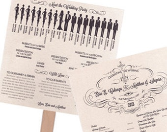 Extra Large Silhouette Wedding Program Fan Wedding Program Square 2 Sheets
