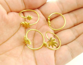 5pcs Raw Brass Flower Ring Blanks Bases Custom Personalized Initials for Makers Eco-friendly Lead Nickel Chromium Free 0106-0109
