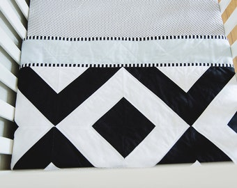 "Modern Baby Quilt. Bold Black and White, Graphic Geometric Quilt. ""The Henry"" with a Soft Blue Backing. Quilted Baby. Baby Boy Quilt."
