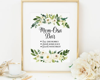 Bohemian Mom-osa Bar Printable White Floral Mom-Osa Drink Table Sign Boho Mimosa Sign Baby Shower Decoration Girl Baby Shower Decor 298