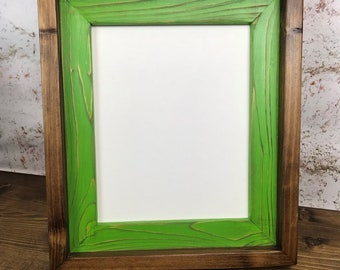8 x 10 Lime Green Stacked And Stained Picture Frame, Wooden Frame, Home Decor, Rustic Home Decor, Rustic Frames, Rustic Wood Frames