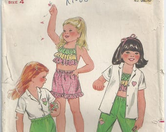 Vintage Pattern - Childrens Pattern - Girls' Shorts, Pants, Shirt & Ruffle Top - Vintage Butterick Pattern 3761 - Size 4 - 1974 - Unused