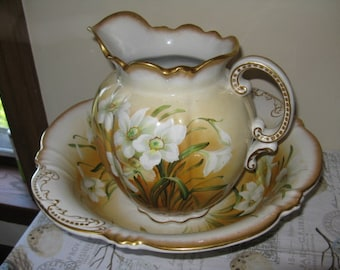 Stunning Antique Floral Wash Basin & Pitcher - Embossed Yellow White!!  Full Size Ironstone Jones and Sons Stoke on Trent England