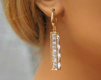 Rose Gold Crystal Earrings, Bridesmaids Earrings, Swarovski Crystal Earrings, Bridal Earrings, Wedding Jewelry, Bridesmaid