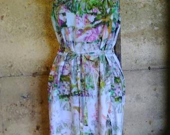 Floral strapless long hippie dress
