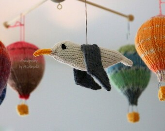 Seagull knitting pattern PDF, mobile hangers, maritime decoration, diy gift and decoration, gift for kids and adults, baby shower,