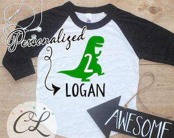 Personalized Dinosaur Birthday Boy Shirt / Baby Boy Clothes 2 Year Old Outfit Second Birthday TShirt 2nd Birthday Party Raglan Two 253