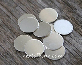 4pk 5/8 inch 20 gauge Sterling Silver disc - Hand Stamped Jewelry Supplies