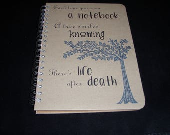 Eco Friendly Notebook, Journal, Diary, Large Notebook, Sketchbook, Tree Print Notebook, Personalisation Possible
