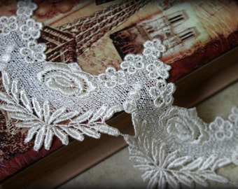 Tresors  White  Lace Trim, Venice Lace for Bridal, Millinery, Dresses, Sashes, Altered Couture, Crafting LA-115