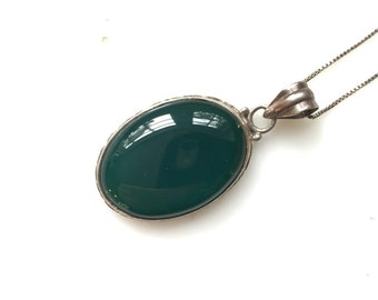 Vintage green stone etsy green stone pendant aloadofball Images