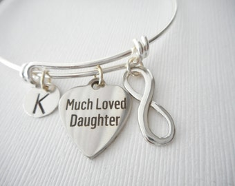 Much Loved Daughter, Infinity- Initial Bangle/ Daughter Quote Jewelry, daughters, Young Girls Jewelry, little girls gift, bridesmaid