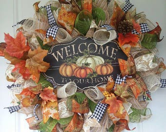Fall Burlap Wreath - Fall Wreath - Autumn Wreath - Fall Decor, Door Decoration, Autumn Wreaths, Front Door Wreaths