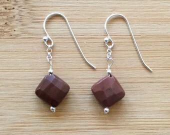 Deep Red Imperial Jasper Earrings, Sterling Silver Earrings, Red Gemstone Earrings, Jasper Jewelry, Drop Earrings