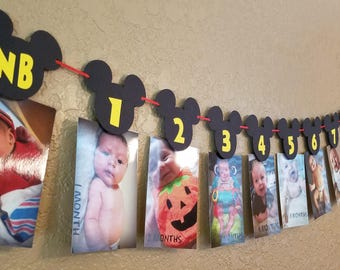 Mickey Mouse Photo banner, Mickey Mouse Birthday Month Banner, Mickey Mouse 12 Month Banner, 1st Birthday, Mickey Mouse Decorations, Banner
