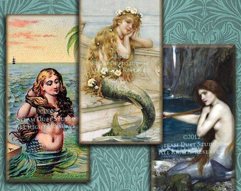 Vintage & Victorian Mermaids - 1x2 inch Domino Tile Images - Digital Collage Sheet - Instant Download and Print