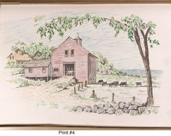 Vintage Hand Colored Barn with Cows Print #4
