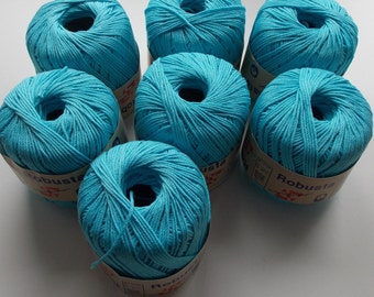 Aqua yarn, cotton yarn, turquoise yarn, blue yarn, teal yarn, Markoma Robusta, DK yarn, cheap yarn, yarn lot, light worsted yarn, knitting