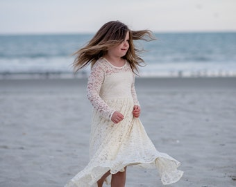Flower Girl Dress Rustic Flower Girl Dress Ivory Boho Girls Long Dress Toddler Rhinestone Vintage Flower Girl Dresses Jr Bridesmaid Dress
