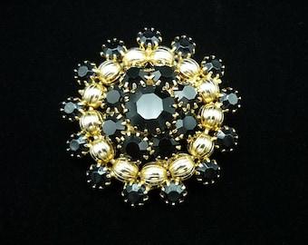 Vintage Black Gold Domed Brooch, Rhinestone Brooch, Black Brooch, Domed Brooch, Mid Century Jewelry, Round Brooch