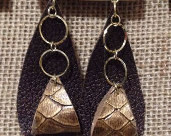 Leather Inspired Teardrop Bronze and Gold with Hoops