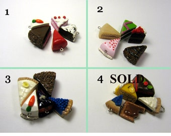 Oops Charm Sets, Miniature Food Jewelry, Cake and Pie Charms